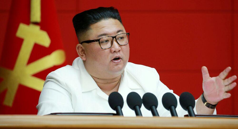 Lãnh đạo CHDCND Triều Tiên Kim Jong-un phát biểu tại cuộc họp toàn thể của Ủy ban Trung ương Đảng Công nhân Hàn Quốc