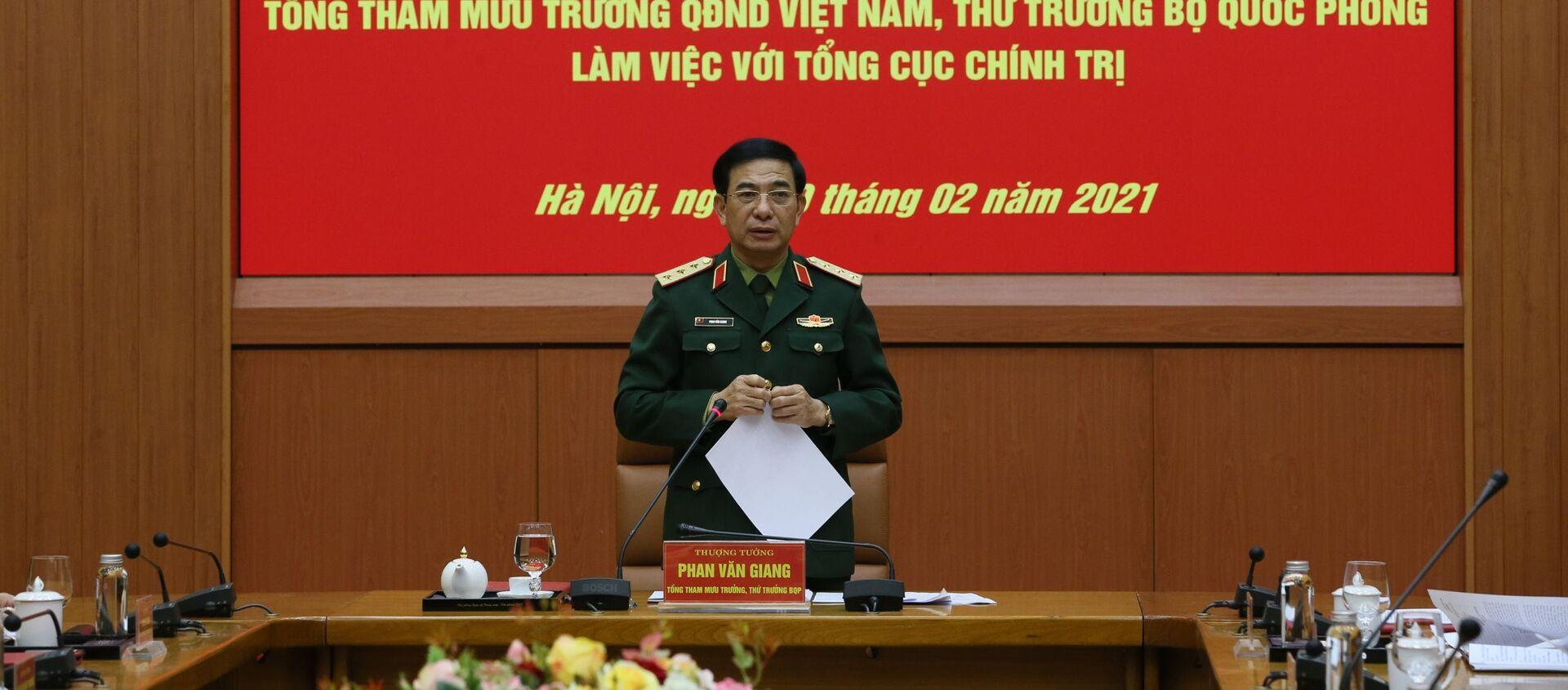 Thứ trưởng Bộ Quốc phòng Phan Văn Giang phát biểu tại buổi làm việc. - Sputnik Việt Nam, 1920, 20.02.2021
