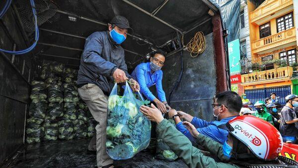 Những chuyến hàng chở bắp cải của nông dân Hải Dương tập kết tại số 38 Giải Phóng - Sputnik Việt Nam