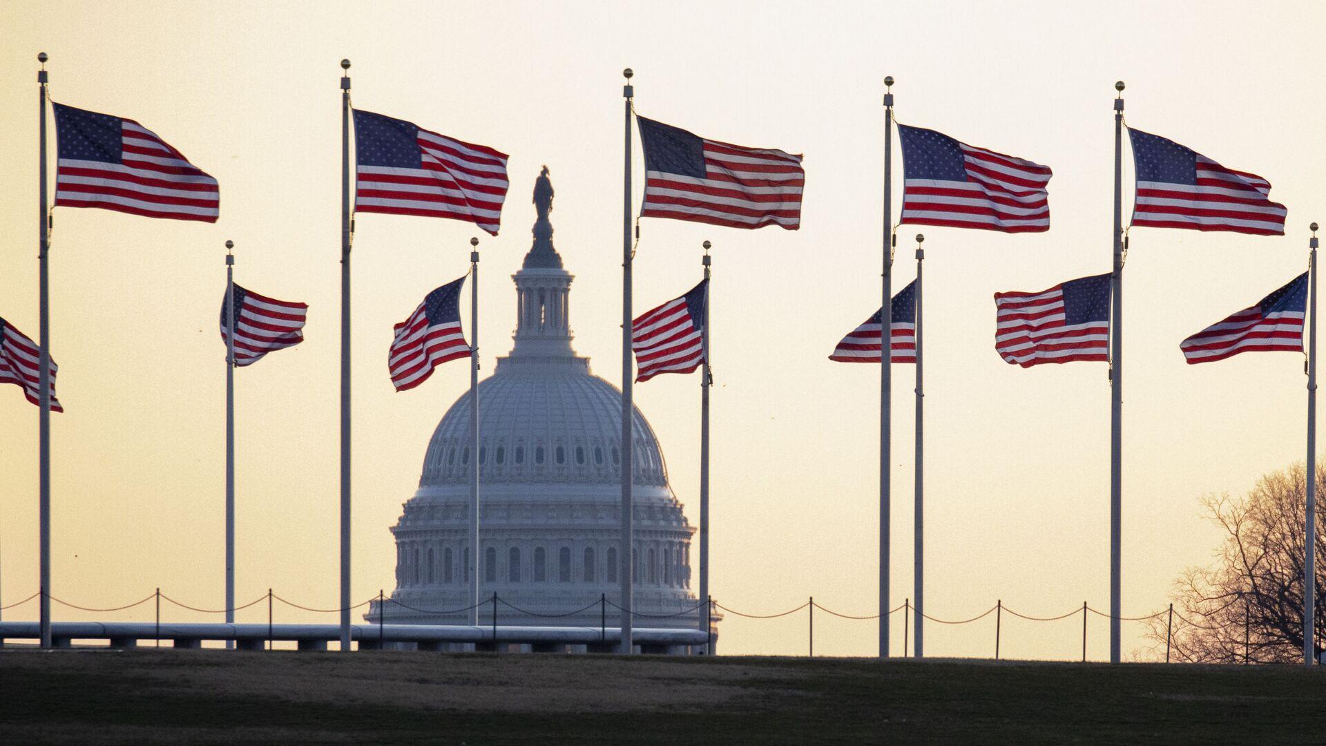 Cờ Mỹ trên nền của Điện Capitol ở Washington, Mỹ - Sputnik Việt Nam, 1920, 04.10.2021