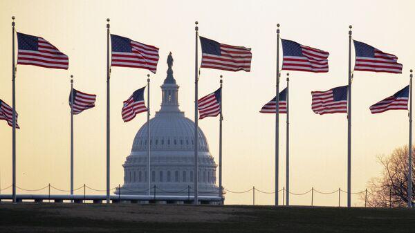 Cờ Mỹ trên nền của Điện Capitol ở Washington, Mỹ - Sputnik Việt Nam
