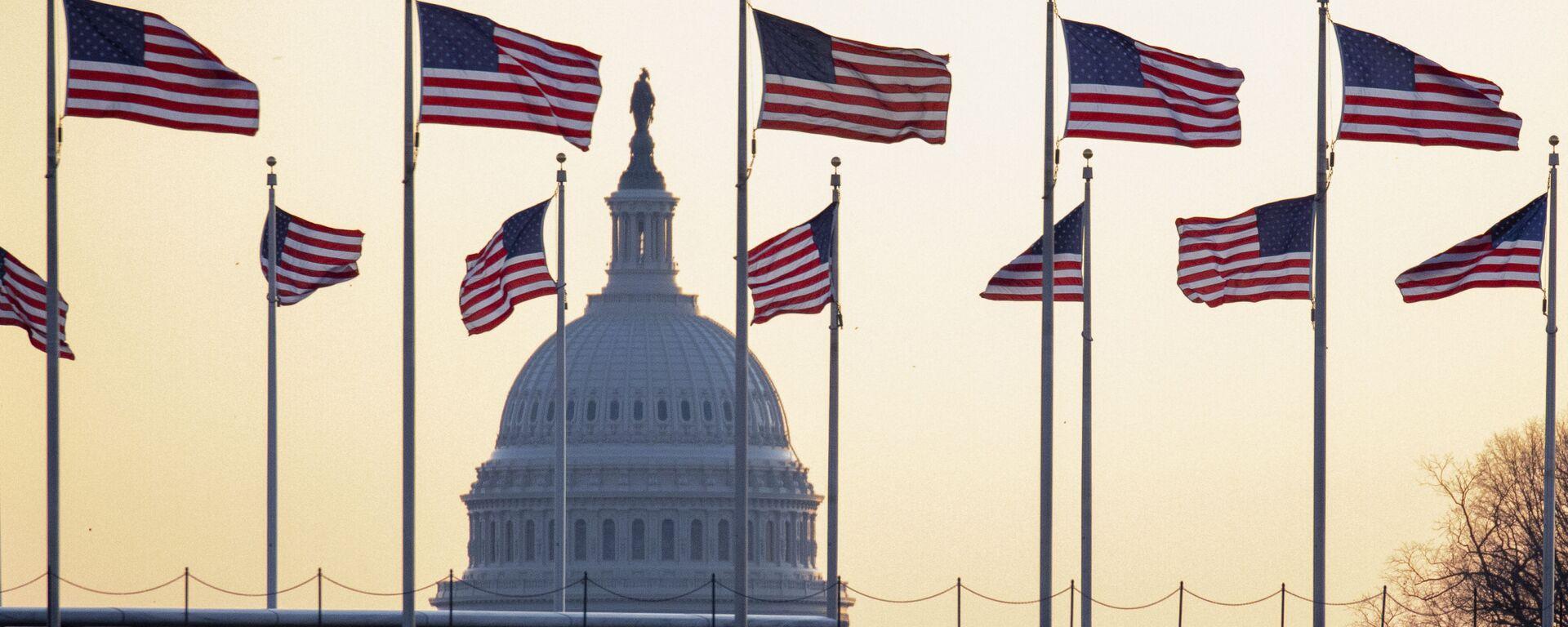 Cờ Mỹ trên nền của Điện Capitol ở Washington, Mỹ - Sputnik Việt Nam, 1920, 17.03.2021