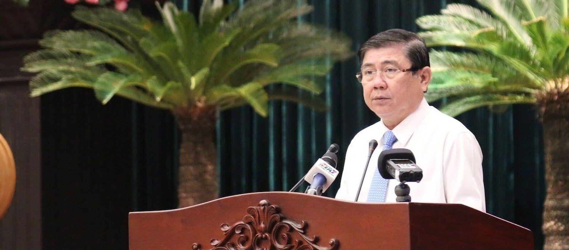 Chủ tịch UBND TP. Hồ Chí Minh Nguyễn Thành Phong phát biểu tại hội nghị. - Sputnik Việt Nam, 1920, 28.03.2021