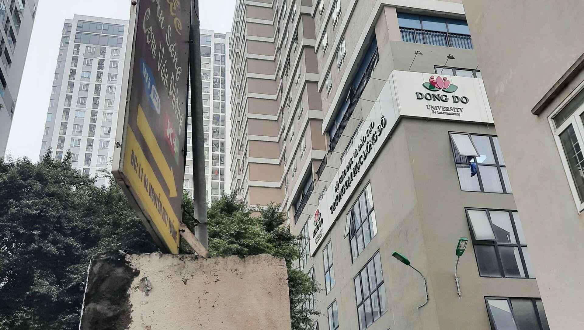 Hiện trường nơi xảy ra vụ bé gái 3 tuổi rơi từ tầng 12A tòa nhà 60B Nguyễn Huy Tưởng. - Sputnik Việt Nam, 1920, 01.03.2021