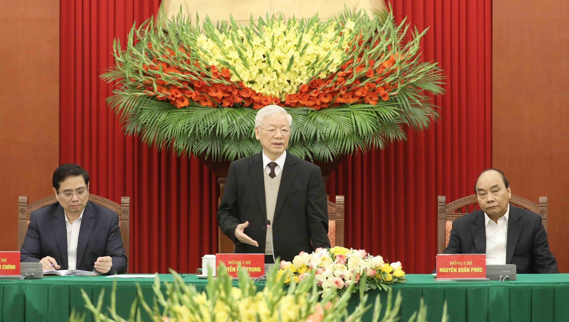 Tổng Bí thư, Chủ tịch nước Nguyễn Phú Trọng phát biểu tại buổi gặp mặt. - Sputnik Việt Nam, 1920, 03.03.2021