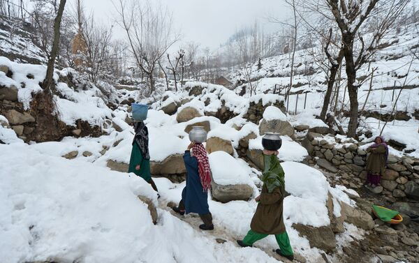 Cư dân của một ngôi làng ở Kashmir mang theo những chiếc bình chứa nước - Sputnik Việt Nam
