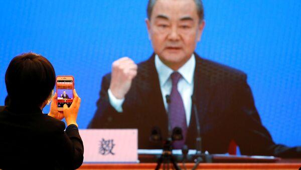 Ngoại trưởng Trung Quốc Vương Nghị tại một cuộc họp báo tại Bắc Kinh - Sputnik Việt Nam