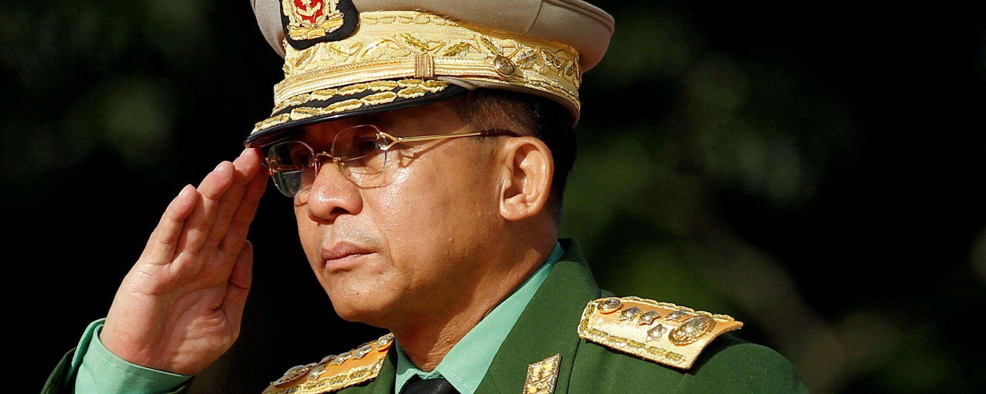 Tổng tư lệnh các lực lượng vũ trang Myanmar Min Aung Hlaing. - Sputnik Việt Nam, 1920, 21.04.2021