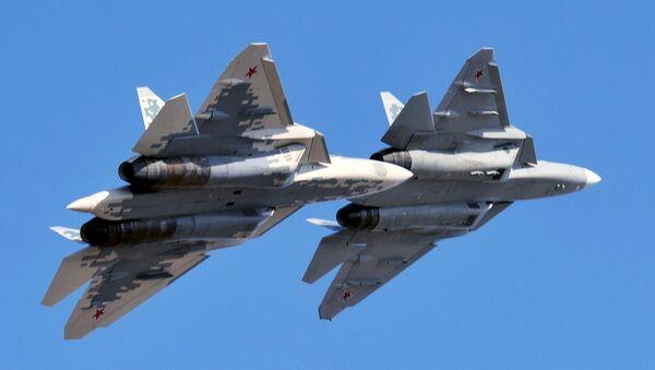Tiêm kích thế hệ thứ năm Su-57. - Sputnik Việt Nam