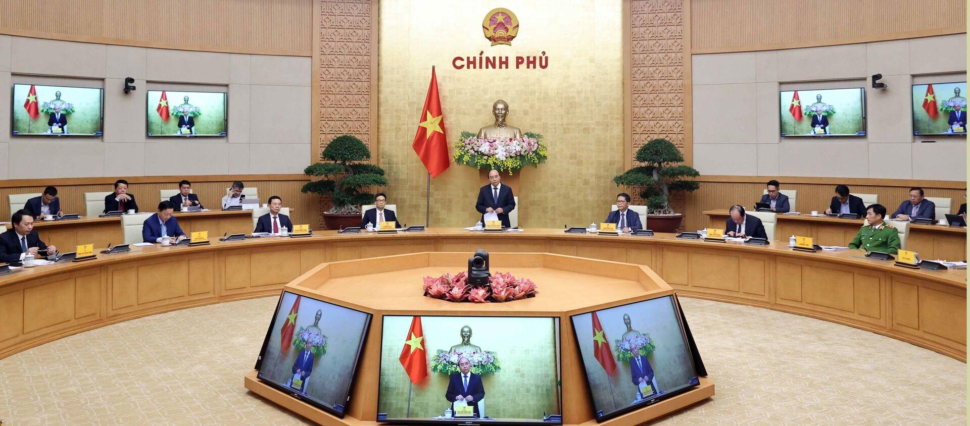 Thủ tướng Nguyễn Xuân Phúc, Chủ tịch Ủy ban quốc gia về Chính phủ điện tử phát biểu.  - Sputnik Việt Nam, 1920, 12.03.2021
