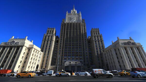 Tòa nhà của Bộ Ngoại giao Liên bang Nga trên Quảng trường Smolenskaya-Sennaya ở Moscow - Sputnik Việt Nam