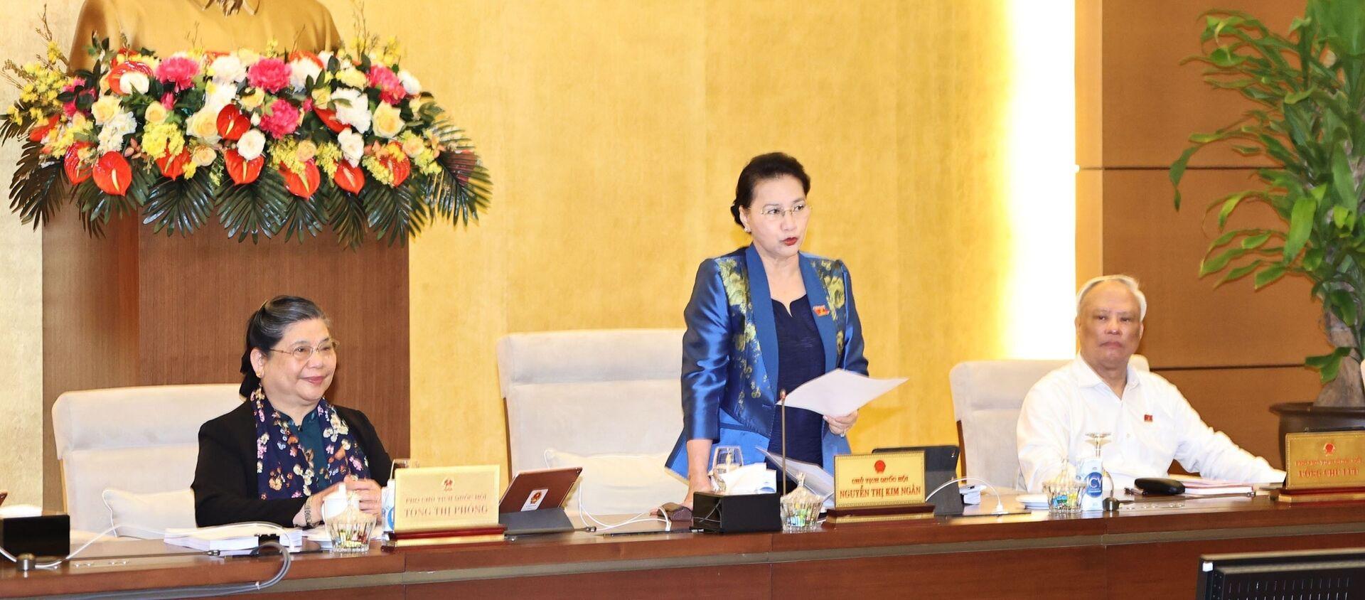 Chủ tịch Quốc hội Nguyễn Thị Kim Ngân phát biểu khai mạc. - Sputnik Việt Nam, 1920, 15.03.2021