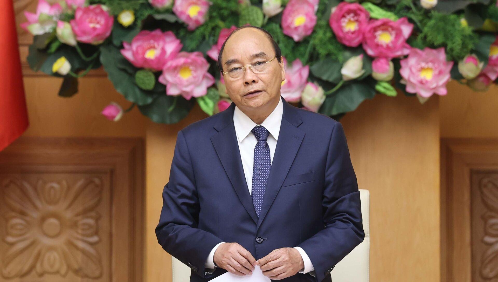 Thủ tướng Nguyễn Xuân Phúc phát biểu tại buổi tiếp đoàn đại biểu Hội Phát triển hợp tác kinh tế Việt Nam - ASEAN (VASEAN). - Sputnik Việt Nam, 1920, 18.03.2021