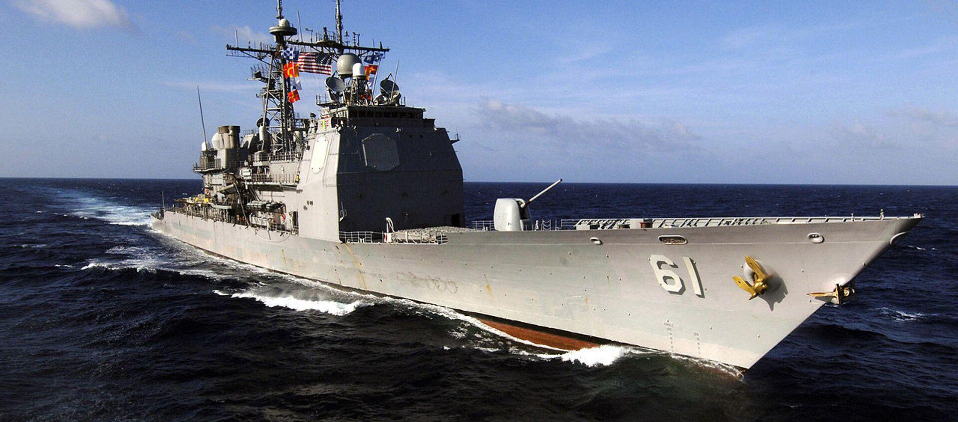 Tuần dương hạm mang tên lửa dẫn đường lớp Ticonderoga USS Monterey (CG 61) tiến hành các cuộc diễn tập thường lệ ở Biển Caribe - Sputnik Việt Nam, 1920, 21.04.2021