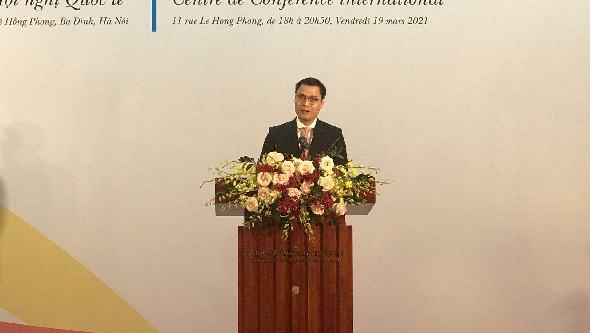 Thứ trưởng Bộ Ngoại giao Đặng Hoàng Giang phát biểu tại Lễ Kỷ niệm Quốc tế Pháp ngữ - Sputnik Việt Nam, 1920, 29.06.2021