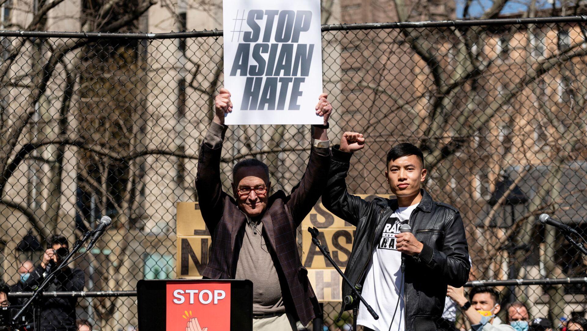 Mit-tinh chống phân biệt đối xử với người Mỹ gốc Á ở New York. - Sputnik Việt Nam, 1920, 22.03.2021