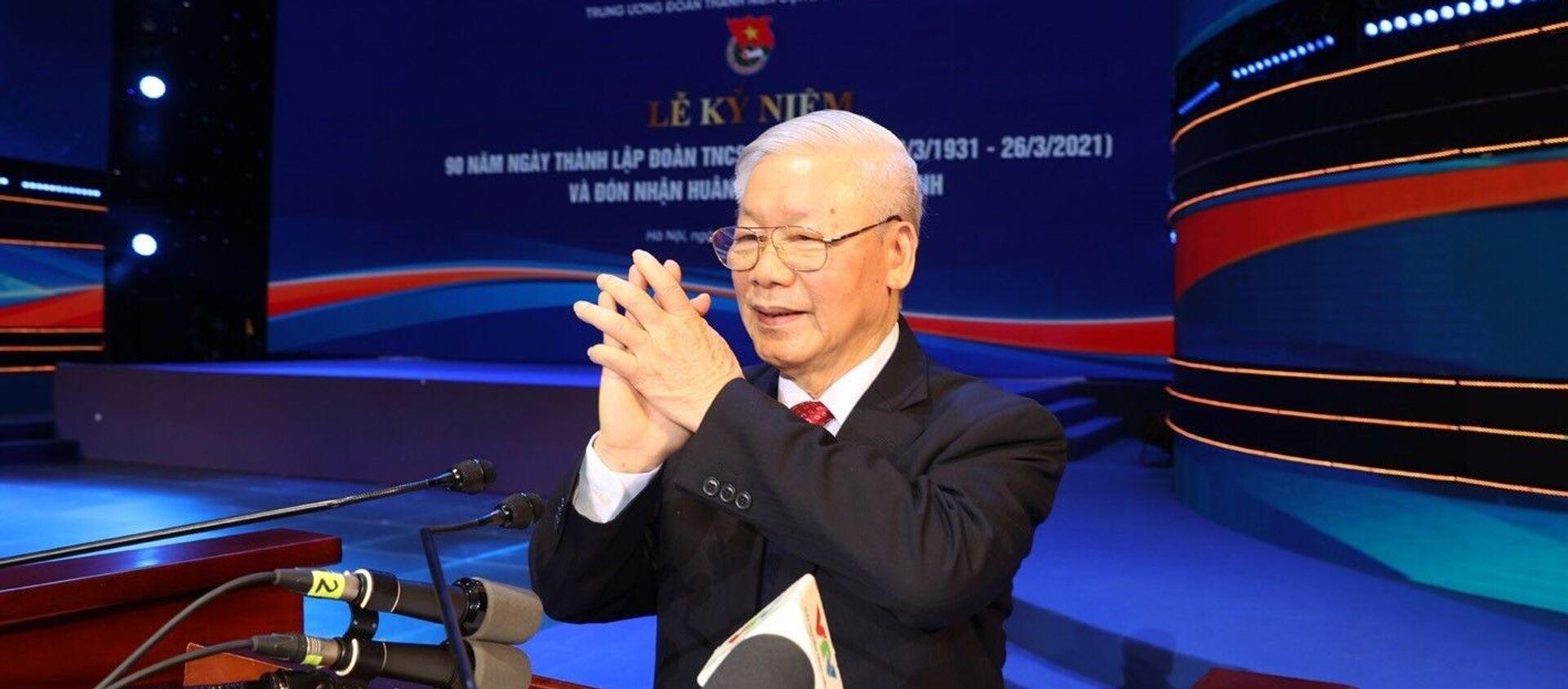Tổng Bí thư, Chủ tịch nước Nguyễn Phú Trọng phát biểu tại Lễ kỷ niệm. - Sputnik Việt Nam, 1920, 24.03.2021