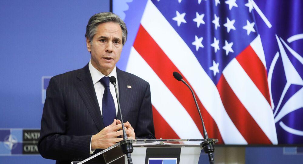 Ngoại trưởng Hoa Kỳ Antony Blinken phát biểu tại Trụ sở NATO ở Brussels, Bỉ