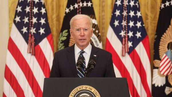 Tổng thống Mỹ Joe Biden phát biểu tại Nhà Trắng trong cuộc họp báo đầu tiên trên cương vị Nguyên thủ quốc gia - Sputnik Việt Nam