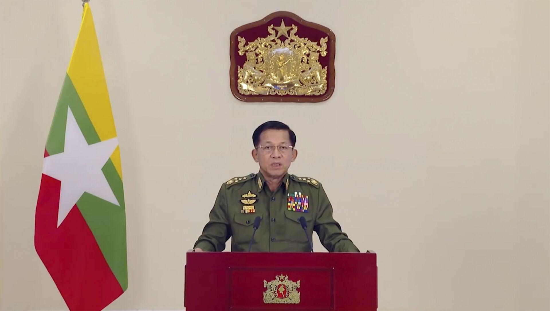 Chủ tịch Hội đồng Hành chính Nhà nước, Tổng Tư lệnh Các lực lượng vũ trang Myanmar, Thượng tướng Min Aung Hline. - Sputnik Việt Nam, 1920, 26.03.2021