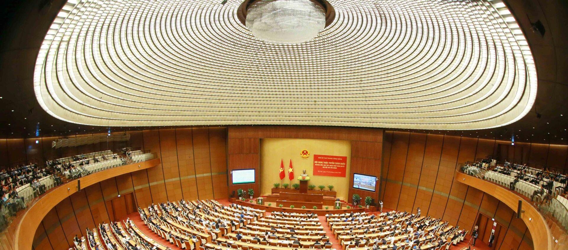 Toàn cảnh hội nghị tại điểm cầu chính - Phòng họp Diên Hồng, Nhà Quốc hội (Hà Nội). - Sputnik Việt Nam, 1920, 30.03.2021