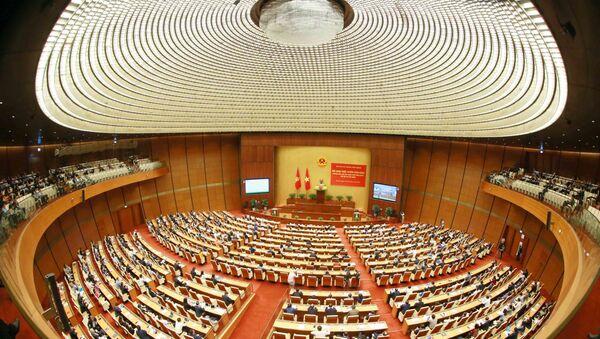 Toàn cảnh hội nghị tại điểm cầu chính - Phòng họp Diên Hồng, Nhà Quốc hội (Hà Nội). - Sputnik Việt Nam