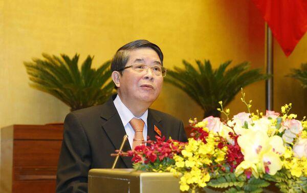 Chủ nhiệm Ủy ban Tài chính, Ngân sách của Quốc hội Nguyễn Đức Hải trình bày Báo cáo thẩm tra Báo cáo công tác nhiệm kỳ 2016-2021 của Kiểm toán Nhà nước. - Sputnik Việt Nam