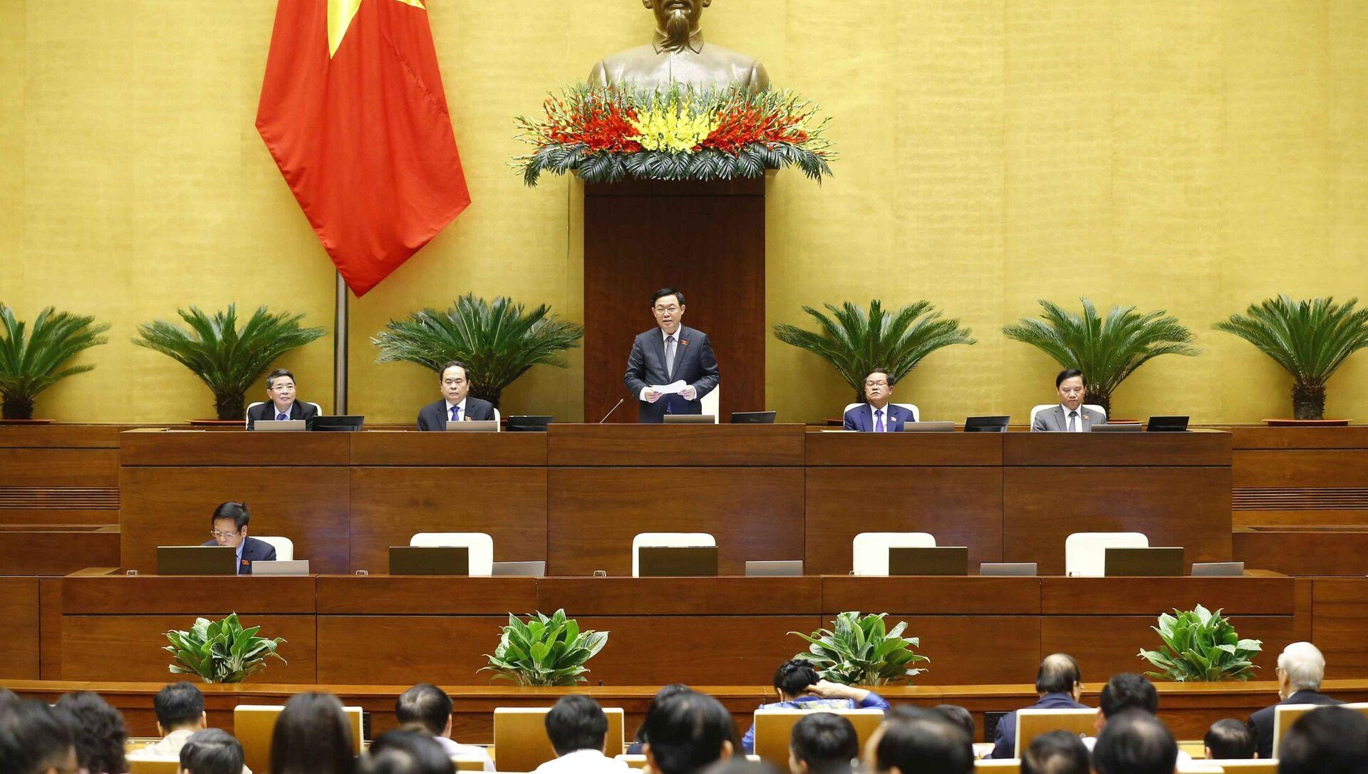 Chủ tịch Quốc hội Vương Đình Huệ phát biểu. - Sputnik Việt Nam, 1920, 06.04.2021