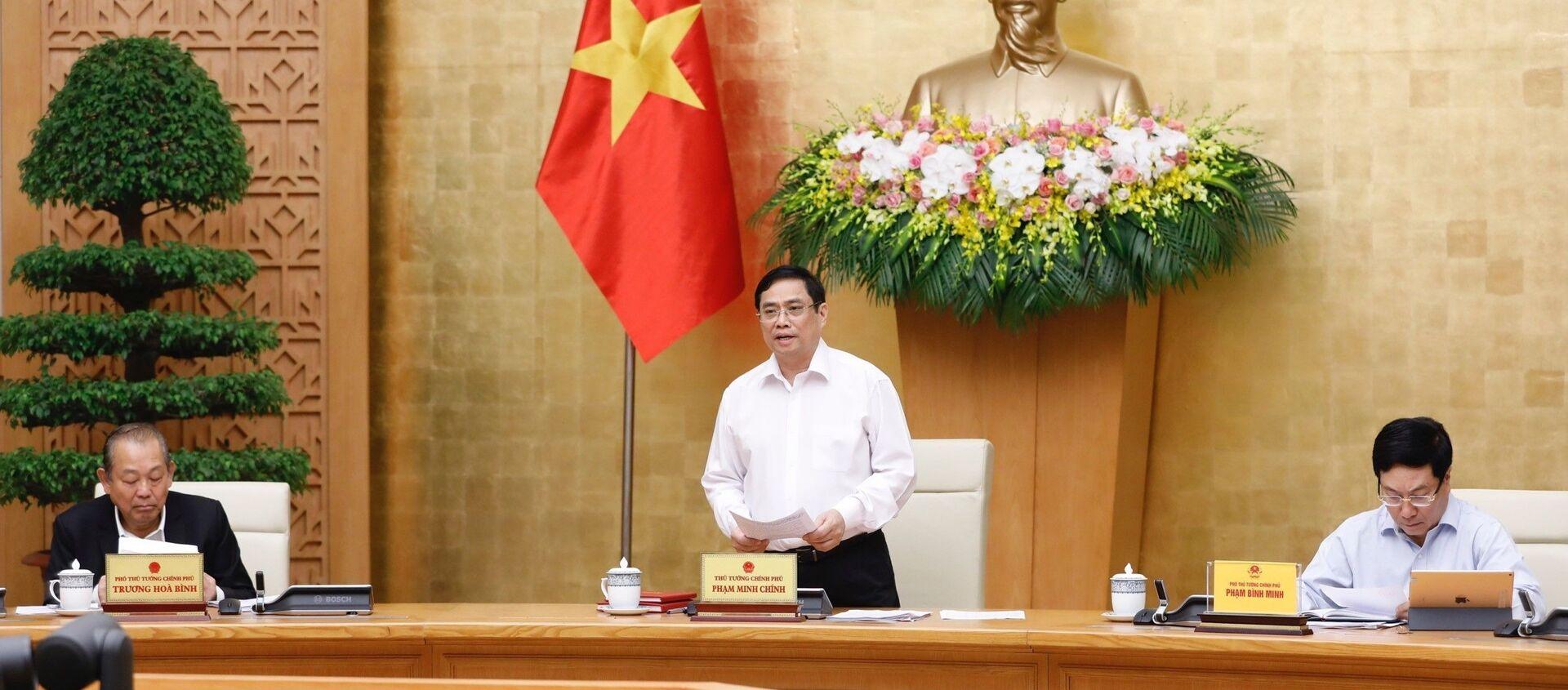 Thủ tướng Phạm Minh Chính phát biểu khai mạc phiên họp.  - Sputnik Việt Nam, 1920, 15.04.2021