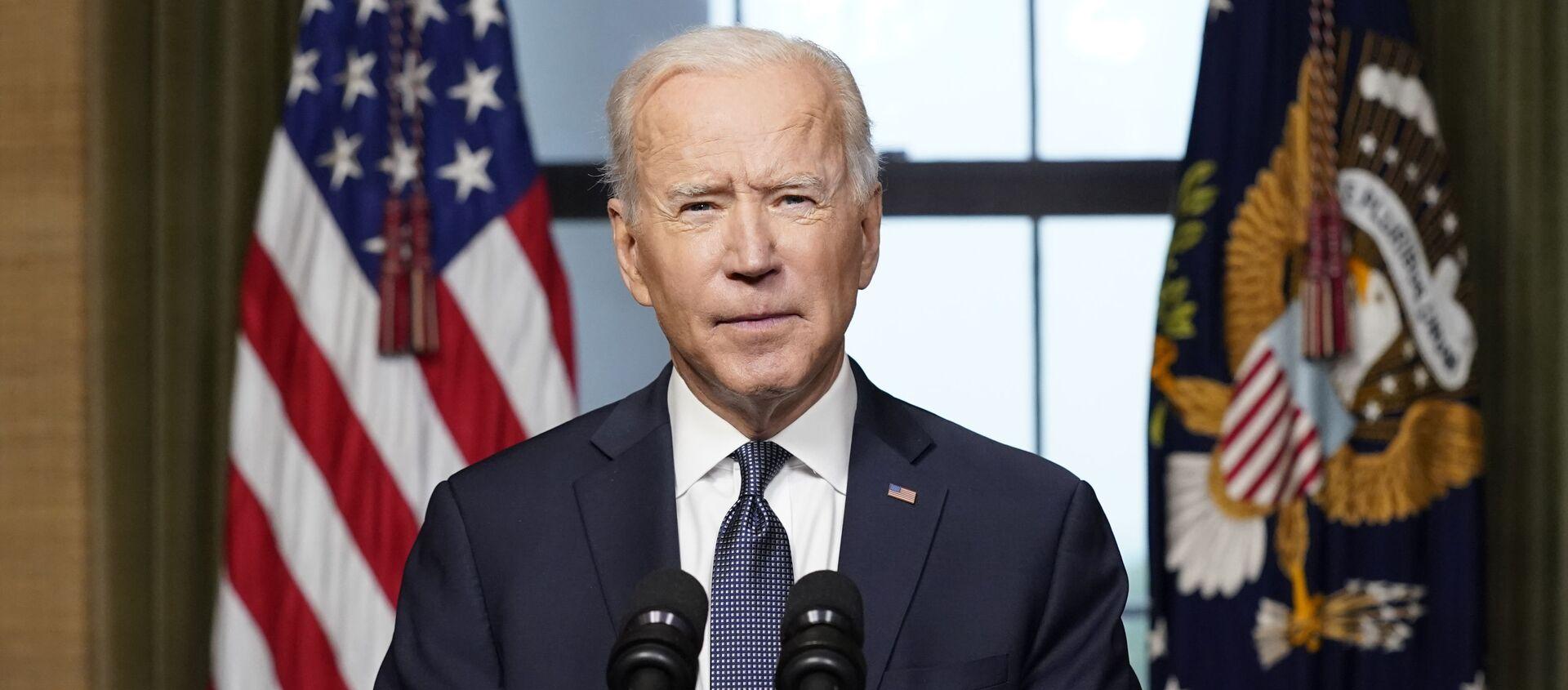 Tổng thống Joe Biden phát biểu từ Phòng Hiệp ước ở Nhà Trắng vào Thứ Tư, ngày 14 tháng 4 năm 2021, về việc rút phần còn lại của Hoa Kỳ. quân đội từ Afghanistan. - Sputnik Việt Nam, 1920, 15.04.2021