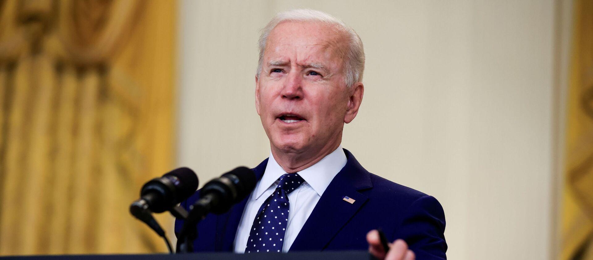 Tổng thống Hoa Kỳ Joe Biden có bài phát biểu về Nga tại Sảnh Đông của Nhà Trắng ở Washington DC, Hoa Kỳ. - Sputnik Việt Nam, 1920, 16.04.2021
