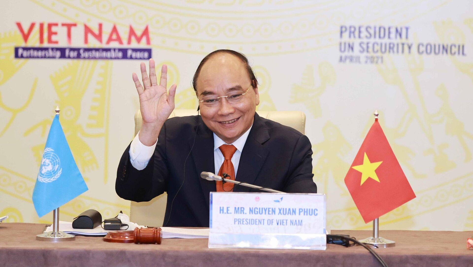 Chủ tịch nước Nguyễn Xuân Phúc chủ trì Phiên thảo luận mở Cấp cao của Hội đồng Bảo an LHQ - Sputnik Việt Nam, 1920, 20.04.2021