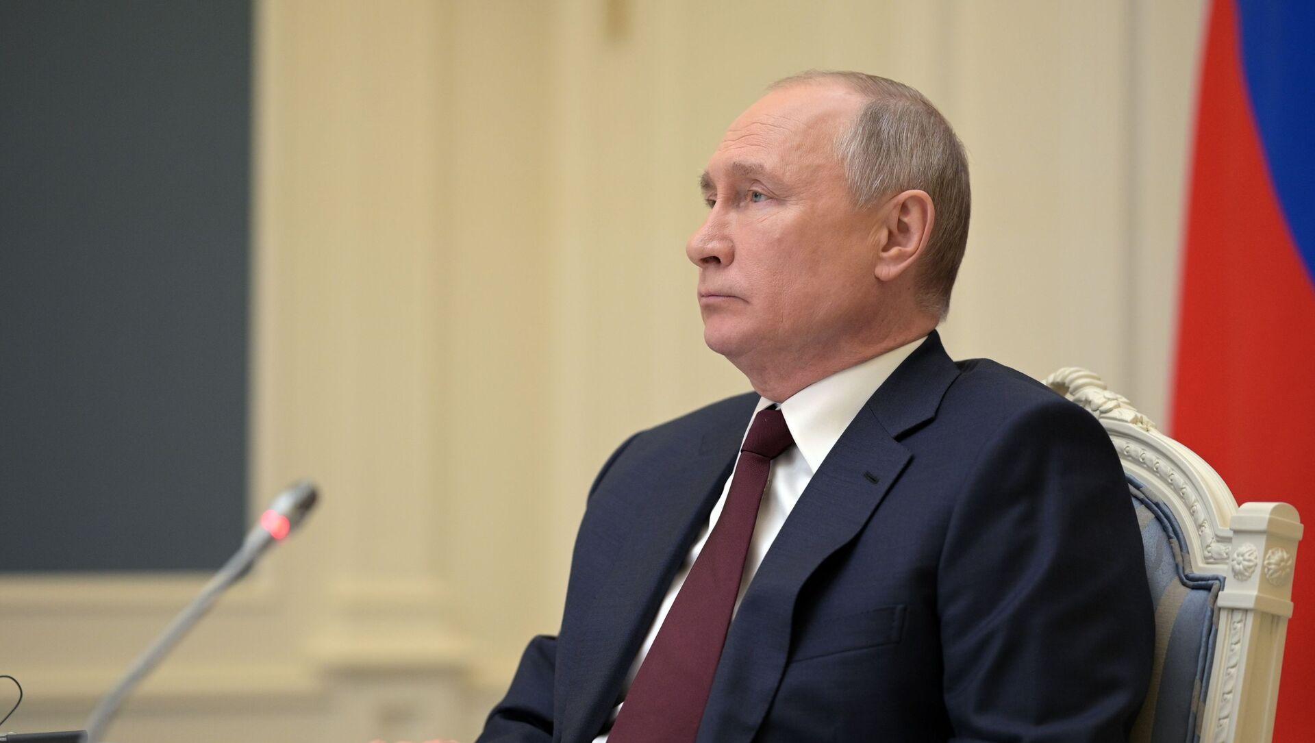 Tổng thống Nga Vladimir Putin tại Hội nghị thượng đỉnh về khí hậu theo điịnh dạng hội thào video. - Sputnik Việt Nam, 1920, 22.04.2021