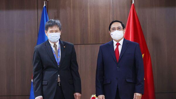 Thủ tướng Phạm Minh Chính hội kiến Tổng Thư ký ASEAN Lim Jock Hoi. - Sputnik Việt Nam