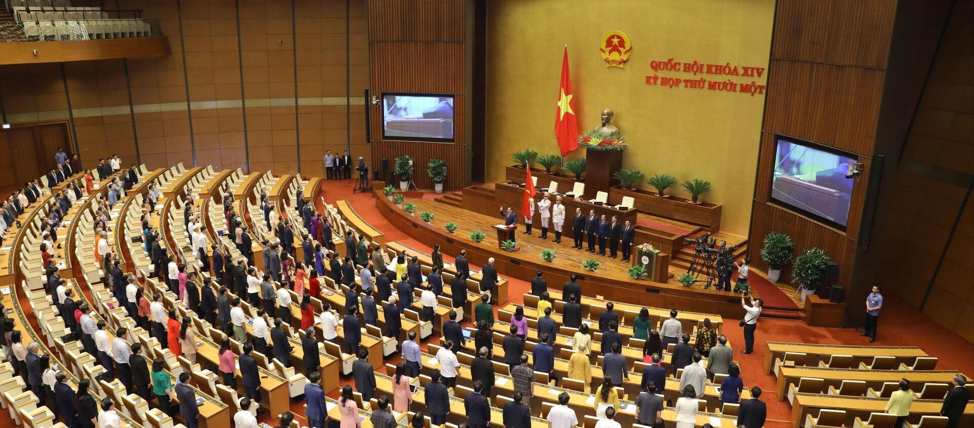 Quang cảnh Lễ tuyên thệ nhậm chức của Thủ tướng Chính phủ Phạm Minh Chính. - Sputnik Việt Nam, 1920, 27.04.2021