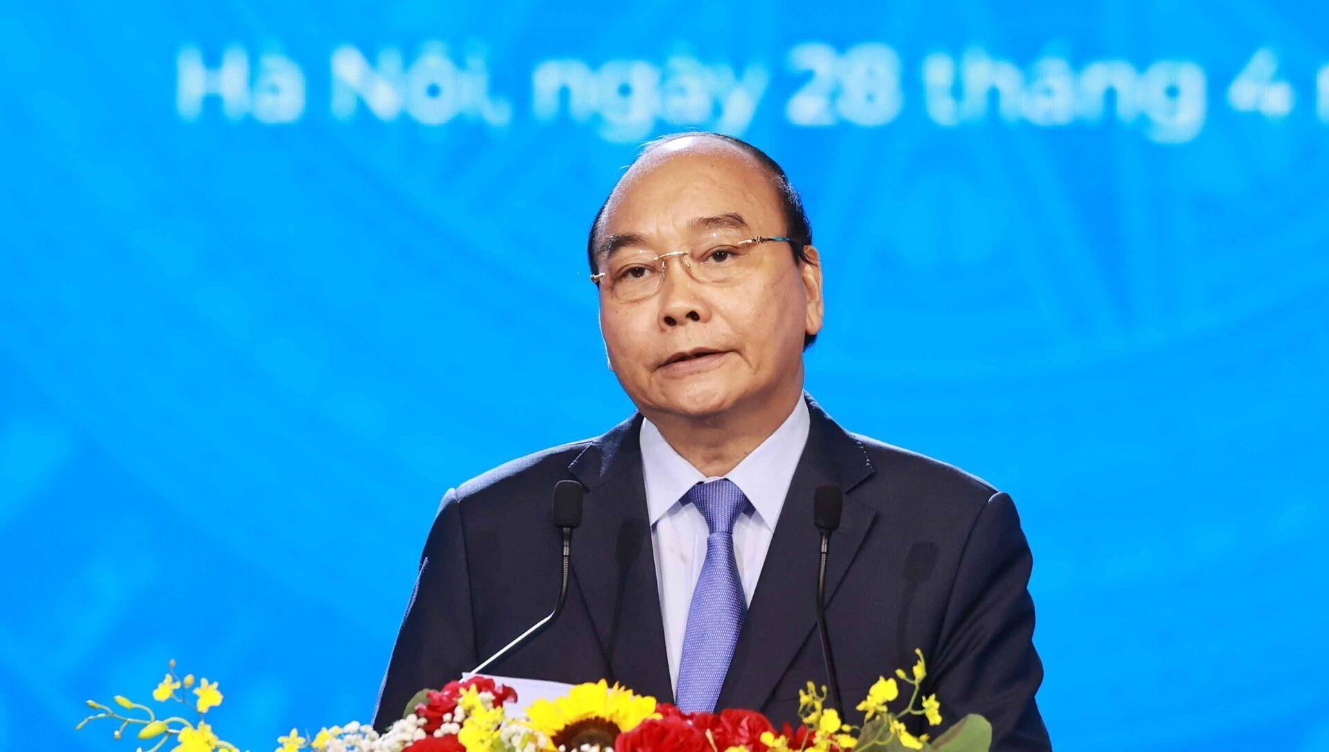 Chủ tịch nước Nguyễn Xuân Phúc phát biểu tại Lễ kỷ niệm. - Sputnik Việt Nam, 1920, 28.04.2021