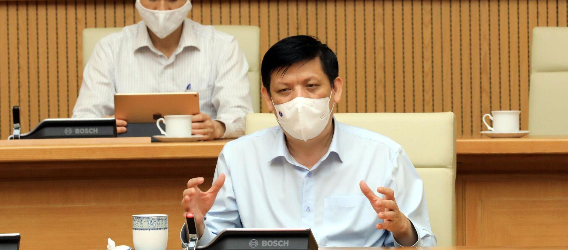 Bộ trưởng Bộ Y tế Nguyễn Thanh Long phát biểu trực tuyến với lãnh đạo Bệnh viện K và Bệnh viện Bệnh nhiệt đới Trung ương. - Sputnik Việt Nam, 1920, 07.05.2021
