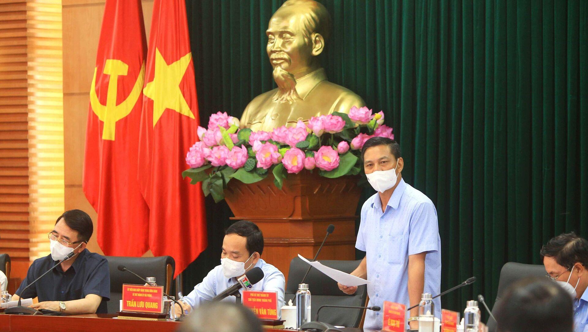 Chủ tịch Ủy ban nhân dân thành phố Hải Phòng Nguyễn Văn Tùng phát biểu tại buổi làm việc. - Sputnik Việt Nam, 1920, 08.05.2021