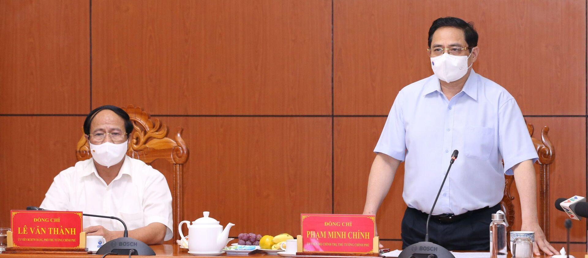 Thủ tướng Phạm Minh Chính phát biểu chỉ đạo từ điểm cầu tỉnh An Giang - Sputnik Việt Nam, 1920, 09.05.2021