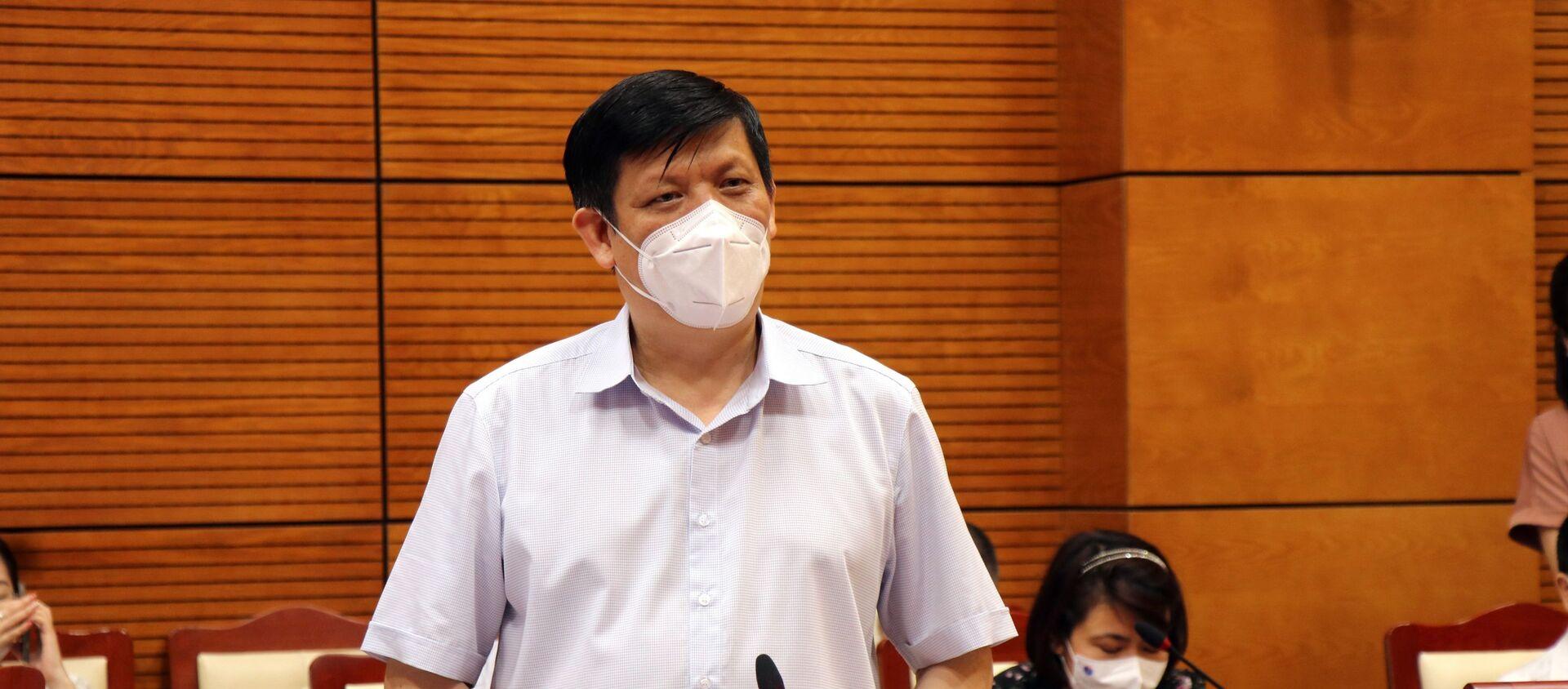 Bộ trưởng Bộ Y tế Nguyễn Thanh Long phát biểu tại buổi làm việc.  - Sputnik Việt Nam, 1920, 18.05.2021