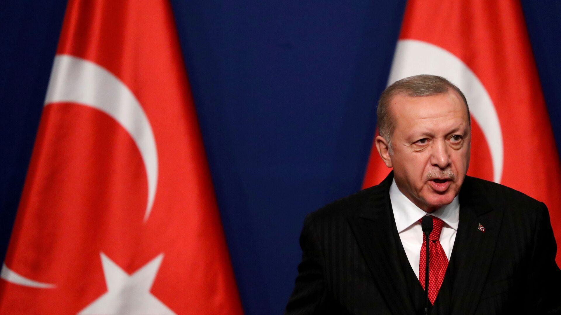 Tổng thống Thổ Nhĩ Kỳ Recep Tayyip Erdogan tham dự cuộc họp báo với Thủ tướng Hungary Viktor Orban (không ảnh) tại Budapest, Hungary ngày 7 tháng 11 năm 2019. REUTERS / Bernadett Szabo / File Photo - Sputnik Việt Nam, 1920, 18.05.2021