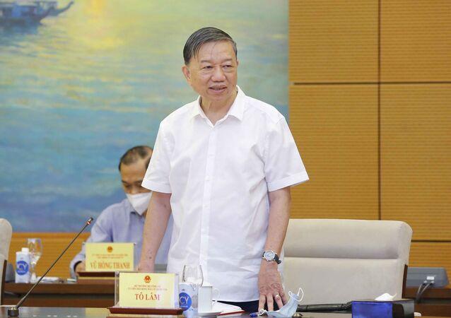 Đại tướng Tô Lâm, Bộ trưởng Bộ Công an, Ủy viên Hội đồng Bầu cử quốc gia phát biểu