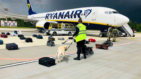 Chiếc máy bay của hãng hang không Ryanair tại sân bay Minsk. - Sputnik Việt Nam