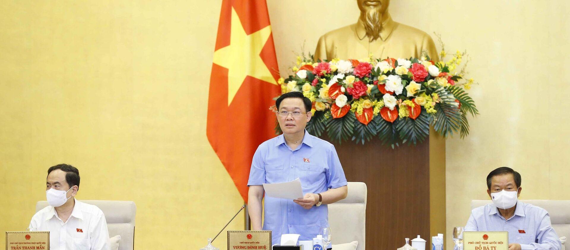 Chủ tịch Quốc hội Vương Đình Huệ phát biểu kết luận Phiên họp. - Sputnik Việt Nam, 1920, 27.05.2021