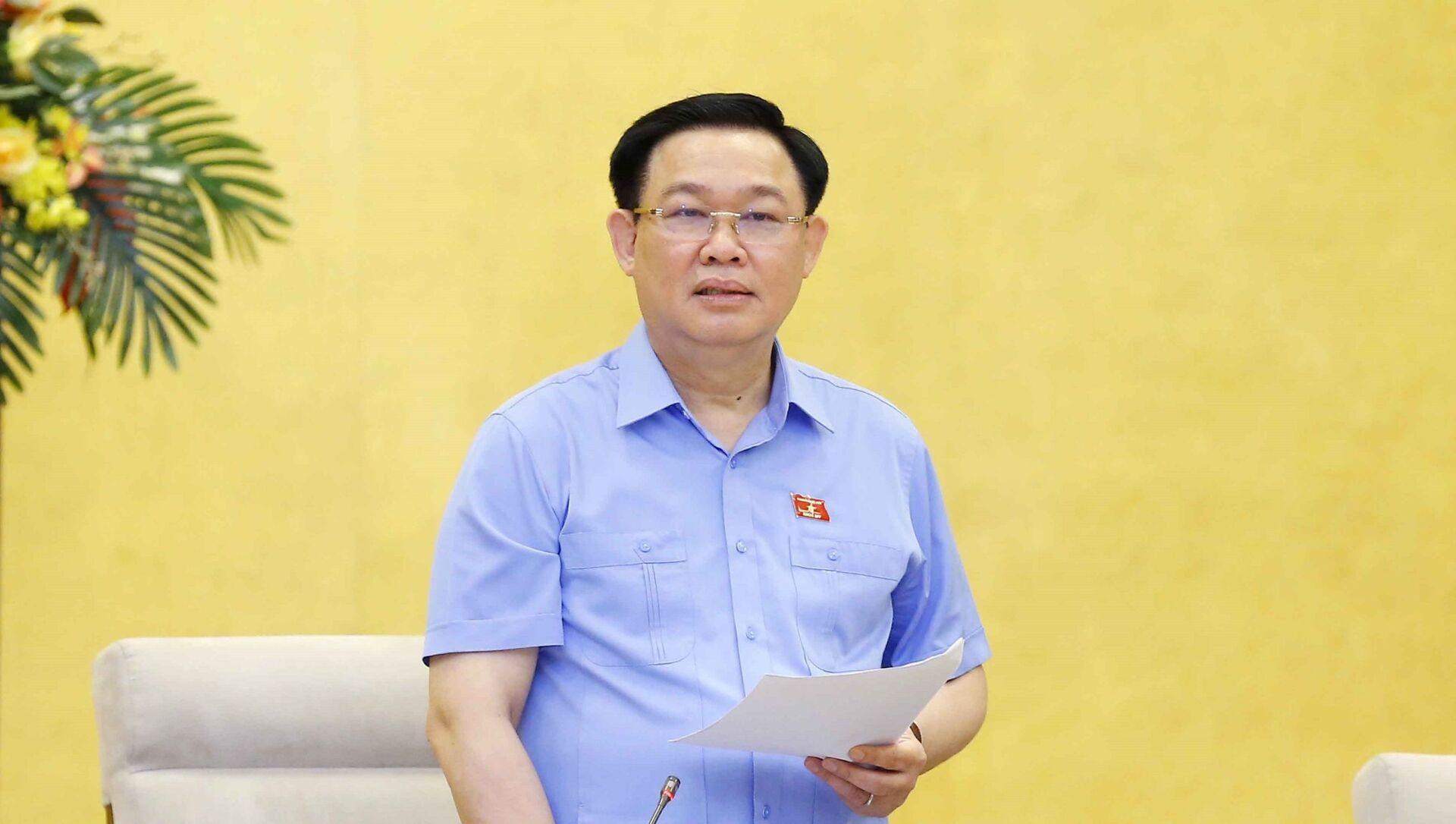 Chủ tịch Quốc hội Vương Đình Huệ phát biểu kết luận Phiên họp.  - Sputnik Việt Nam, 1920, 28.05.2021