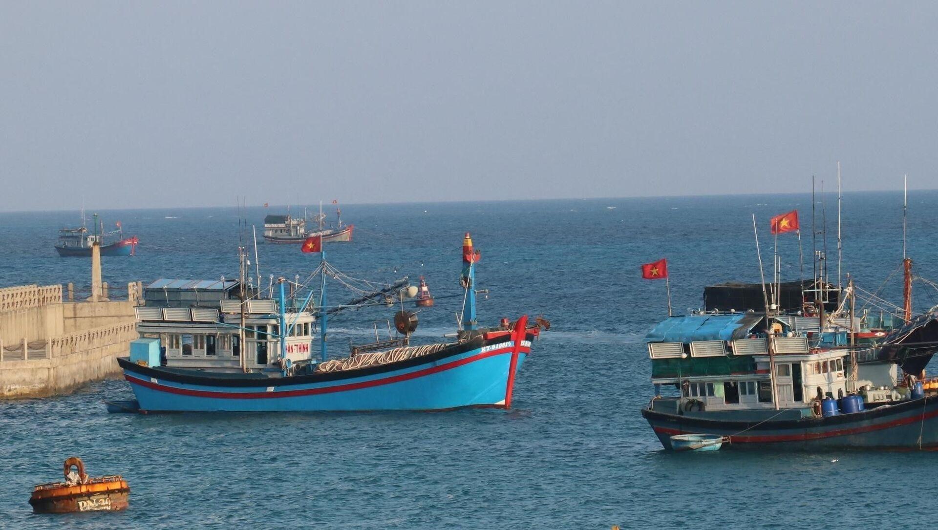 Cờ Tổ quốc tung bay phấp phới trên nóc tàu đánh cá của ngư dân Việt Nam neo đậu tại đảo Đá Tây A (quần đảo Trường Sa). - Sputnik Việt Nam, 1920, 03.06.2021