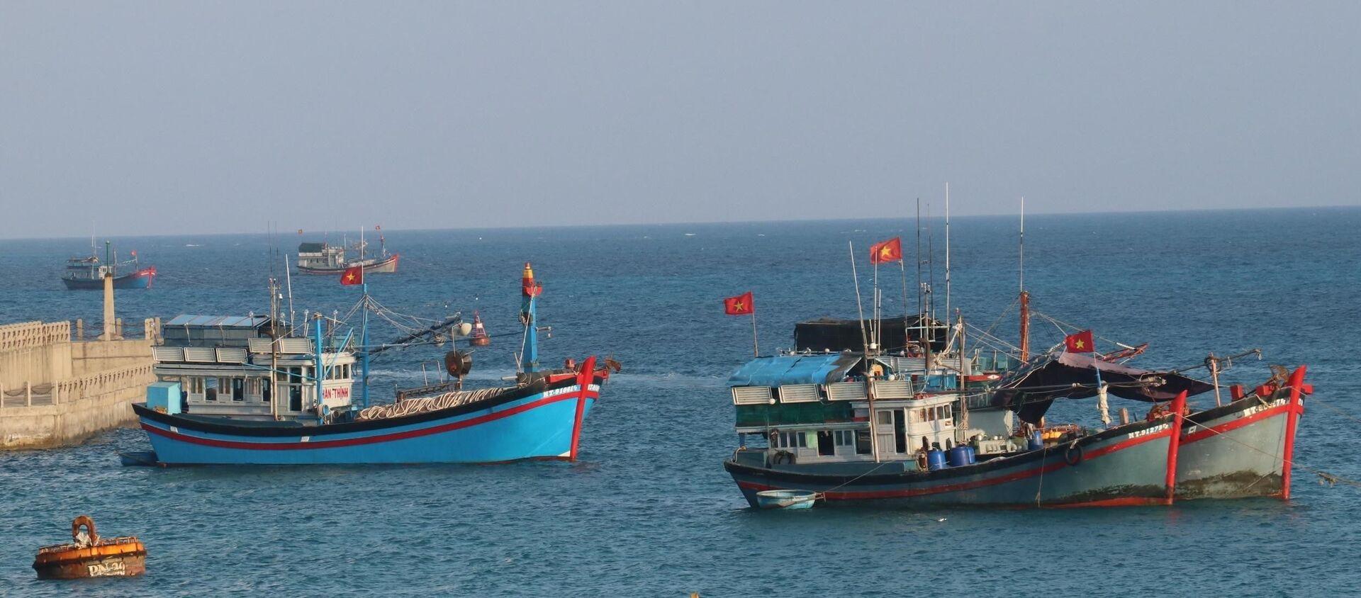 Cờ Tổ quốc tung bay phấp phới trên nóc tàu đánh cá của ngư dân Việt Nam neo đậu tại đảo Đá Tây A (quần đảo Trường Sa). - Sputnik Việt Nam, 1920, 10.06.2021
