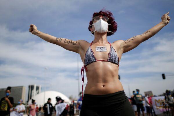 Người tham gia biểu tình chống chính phủ ở Brasilia, Brazil - Sputnik Việt Nam