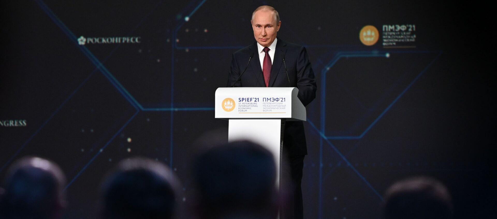 Tổng thống Nga Vladimir Putin phát biểu tại Diễn đàn Kinh tế Quốc tế St.Petersburg năm 2021 - Sputnik Việt Nam, 1920, 04.06.2021