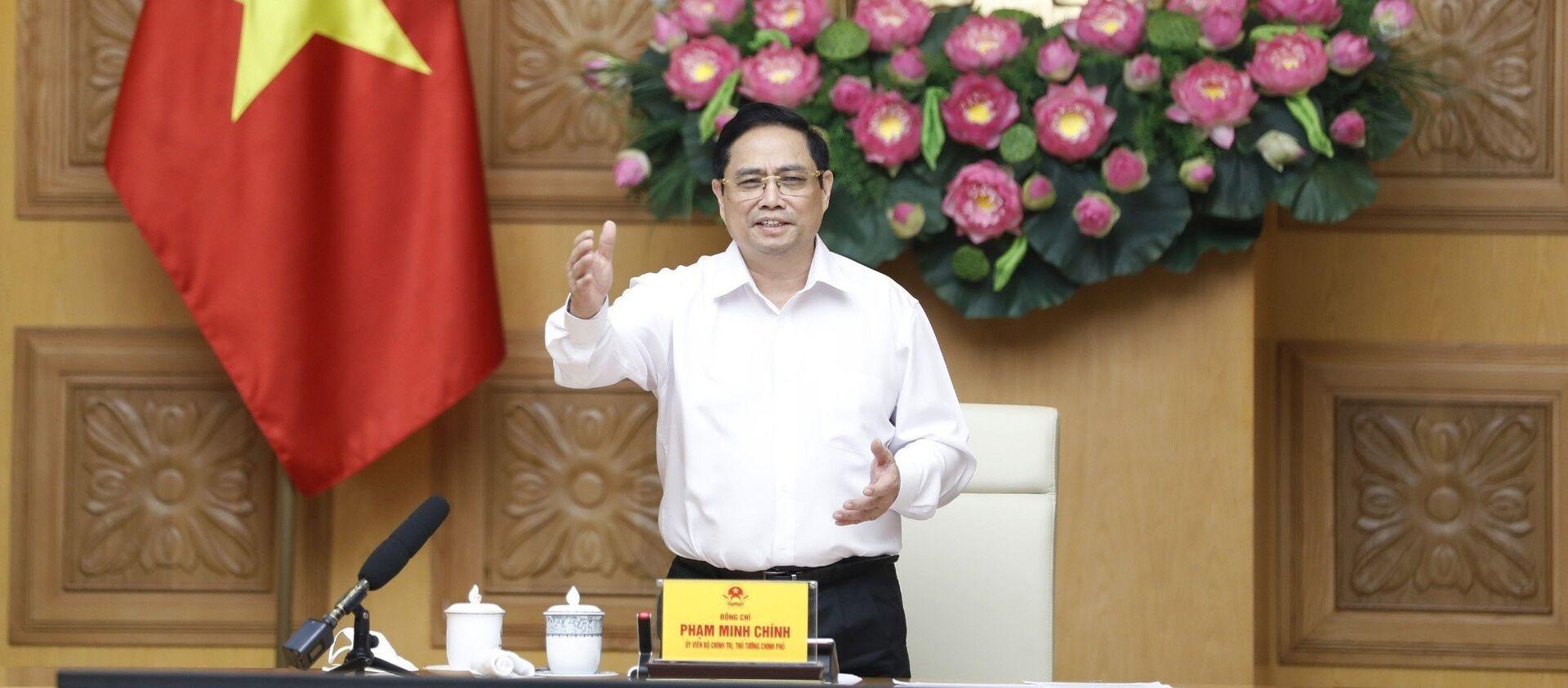 Thủ tướng Phạm Minh Chính làm việc với các đơn vị nghiên cứu, sản xuất vaccine phòng COVID-19 trong nước - Sputnik Việt Nam, 1920, 07.06.2021